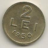 ROMANIA   2  LEI  1950    [4]  XF  ,   livrare in cartonas, Cupru-Nichel