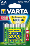 Varta - Set 4 Acumulatori , baterii reincarcabile AA , HR6 , 1350mah, Tip AA (R6)