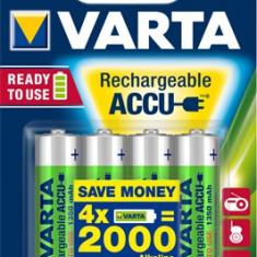 Varta - Set 4 Acumulatori , baterii reincarcabile AA , HR6 , 1350mah