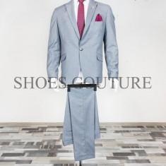 Costum Elegant Barbati , Slim Fit,Cod:150-227 (Culoare: Gri, Marime Costum: 56)
