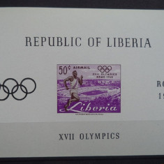 LIBERIA 1960 – ATLETISM OLIMPIADA ROMA, COLITA  NDT MNH, DS16