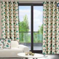 Set de 2 draperii Heinner din bumbac 100%, model flori albastre, HR-DR140-FLWB - Perdea