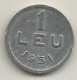 ROMANIA   1  LEU  1951  [17]    livrare  in  cartonas, Aluminiu