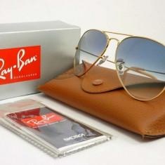 Ochelari Ray Ban Aviator 3025 001/3F - Ochelari de soare Ray Ban, Unisex, Albastru, Pilot, Metal, Protectie UV 100%
