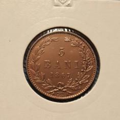 5 bani 1867 Watt - piesa de colectie - Moneda Romania