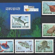 KOREA DE NORD 1993 - FAUNA MARINA - SERIE DE 5 TIMBRE+BLOC NESTAMPILAT - MNH / pesti211
