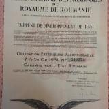 1000 Franci Aur Obligatiune la purtator Romania 1931 cu cupoane neincasate