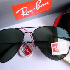Ochelari Ray Ban Aviator 3025 Rama neagra Lentile verzi - Ochelari de soare Ray Ban, Unisex, Verde, Pilot, Metal, Protectie UV 100%