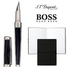 Set S.T. Dupont Luxury Fountain Pen si Note Pad Black Hugo Boss - Stilou