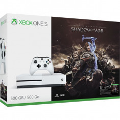 Consola MICROSOFT Xbox One S 500 GB, alb + Joc Shadow of War - Consola Xbox