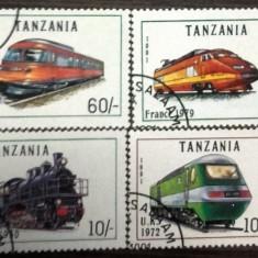 TANZANIA - LOCOMOTIVE, timbre stampilate CD76 - Timbre straine