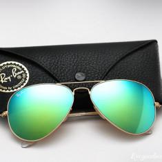 Ochelari Ray Ban Aviator 3025 112/19 - Ochelari de soare Ray Ban, Unisex, Verde, Pilot, Metal, Protectie UV 100%