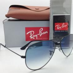 Ochelari Ray Ban Aviator 3025 Rama neagra Lentile albastre degrade - Ochelari de soare Ray Ban, Unisex, Albastru, Pilot, Metal, Protectie UV 100%