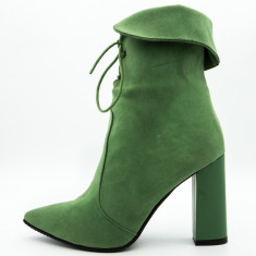 Botine verzi dama,Cod:COR 0027 GREEN (Culoare: Verde, Inaltime toc (cm): 9.5, Marime Incaltaminte: 38)