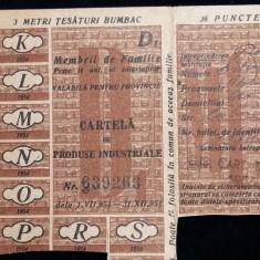 TICHET - CARTELA DE PRODUSE INDUSTRIALE - ANUL 1954 - 3 M TESATURA BUMBAC