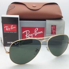 Ochelari Ray Ban 3025 Aviator Rama aurie Lentile verzi - Ochelari de soare Ray Ban, Unisex, Verde, Pilot, Metal, Protectie UV 100%
