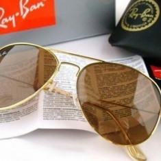 Ochelari Ray Ban Aviator 3025 001/33 - Ochelari de soare Ray Ban, Unisex, Maro, Pilot, Metal, Protectie UV 100%