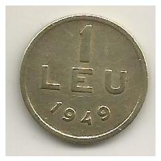 ROMANIA 1 LEU 1949 [14] VF, livrare in cartonas - Moneda Romania, Cupru-Nichel