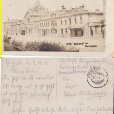 Cernauti ( Bucovina )- Gara -cenzura WWI, WK1, rara - Carte Postala Bucovina 1904-1918, Circulata, Printata
