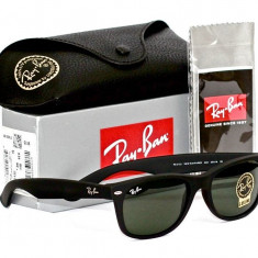 Ochelari Ray Ban Wayfarer 2140 Rama negru mat Lentile negre - Ochelari de soare Ray Ban, Unisex, Plastic, Protectie UV 100%