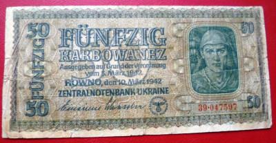 Bancnota  50  KARBOWANEZ  1942  Ucraina foto