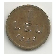 ROMANIA 1 LEU 1949 [17] livrare in cartonas - Moneda Romania, Cupru-Nichel