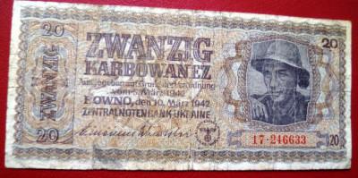 Bancnota  20  KARBOWANEZ  1942  Ucraina foto
