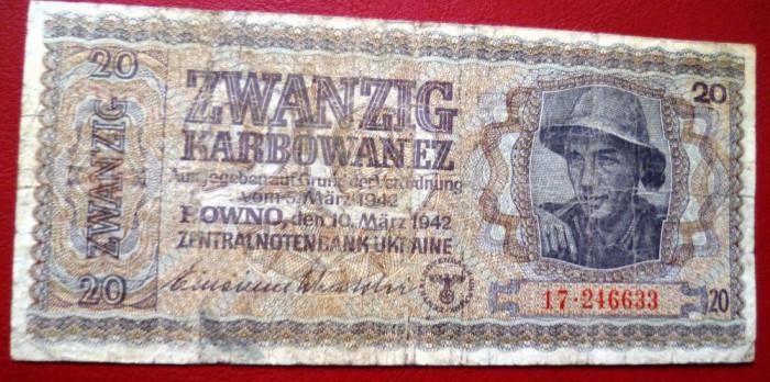 Bancnota  20  KARBOWANEZ  1942  Ucraina