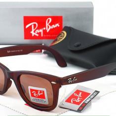 Ochelari Ray Ban Wayfarer 2140 824/51 Rama maro Lentile maro - Ochelari de soare Ray Ban, Unisex, Plastic, Protectie UV 100%