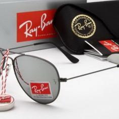 Ochelari Ray Ban Aviator 3025 Rama neagra Lentile oglinda - Ochelari de soare Ray Ban, Unisex, Argintiu, Pilot, Metal, Protectie UV 100%