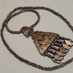 Medalion argint TRIBAL superb MASIV vechi RAR + Lant argint MASIV impletit GROS
