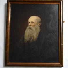 Portret de batran pictura veche ulei pe carton