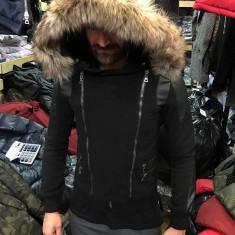 Geaca de iarna barbati neagra cu fermoare din material de palton slimfit casual