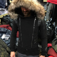 Geaca de iarna barbati neagra cu fermoare din material de palton slimfit casual - Geaca barbati, Marime: S, Culoare: Negru, Tercot