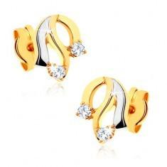 Cercei din aur 585 - linii ondulated, diamante transparente - Cercei aur