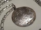 rar Medalion argint simboluri CELTICE vechi VINTAGE superb pe Lant argint masiv
