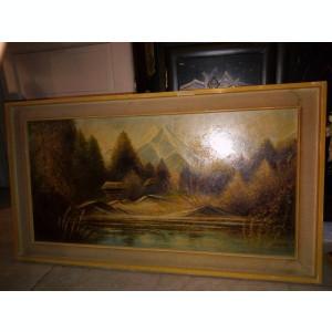 Superba pictura in ulei o lucrare veche semnata,90 cm cu 40