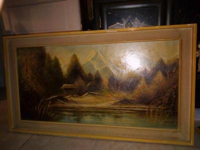 Superba pictura in ulei o lucrare veche semnata,90 cm cu 40 foto