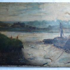 Peisaj cu rau pictura veche ulei pe panza, Peisaje, Impresionism