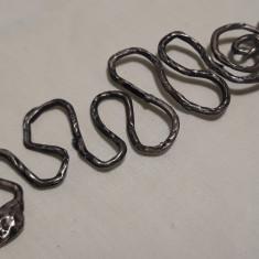 MEDALION argint SARPE KUNDALINI INDIA etnic TRIBAL lung VECHI rar pe Lant argint