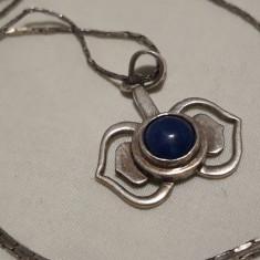 Medalion argint TRIBAL cu LAPIS LAZULI splendid VINTAGE elegant pe Lant argint - Bijuterie veche