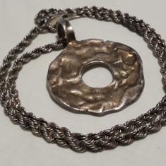 Medalion argint brut RETRO vintage MASIV rar pe Lant argint MASIV impletit GROS