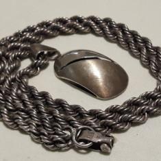Medalion argint RETRO vechi VINTAGE unicat pe Lant argint MASIV impletit GROS