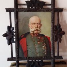 BIEDERMEIER RAMA IMPARATUL AUSTRO-UNGAR FRANZ JOSEF SECOLUL XIX LEMN SCULPTAT - Litografie