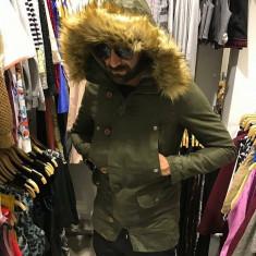 Geaca groasa de iarna KHAKI barbati din material tercot cu blana slimfit casual