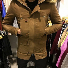 Geaca groasa de iarna Maro barbati din material tercot cu blana slimfit casual - Geaca barbati, Marime: S, XL, XXL