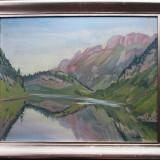 Peisaj cu lac - semnat L.Munteanu - Pictor roman, Peisaje, Ulei, Altul