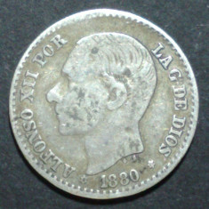 Spania 50 cent 1880 Argint, Europa