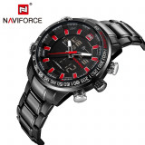 Ceas Luxury Naviforce NF9093 DualTime Subacvatic Japan Movement BARBATI CALENDAR - Ceas barbatesc, Casual, Quartz, Carbon, Inox, Cronograf