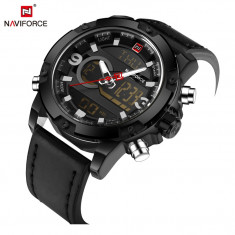 Ceas Luxury Naviforce NF9097 DualTime Subacvatic Japan Movement BARBATI CALENDAR, Casual, Quartz, Carbon